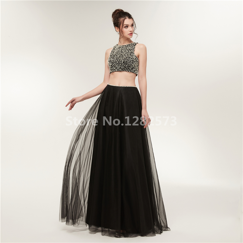 In Stock Black Two Piece Evening Dress Beaded Elegant Sexy Backless Evening  Dresses Long Fancy Formal Dress Tulle Party Gown-in Evening Dresses from ... 28032b46d4b3