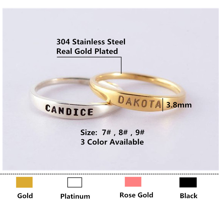 Gold Anillos Custom Jewelry Women Men Personalized Name Rings Wedding Bijoux Femme Silver Stacking Baby Name Ring For Mom Gifts