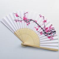 Free Shipping cherry blossom silk hand fan wedding favor plum blossom hand folding fan wintersweet LX7123