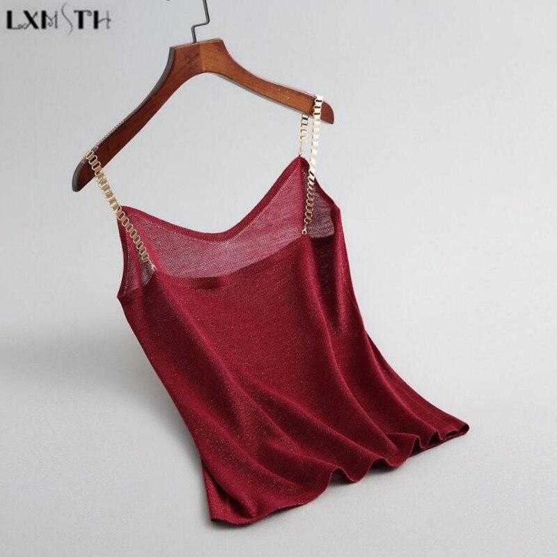 LXMSTH 2019 D'été Vêtements Femmes chemise tricotée Sans Manches Camisoles Réservoirs V-cou Halter Sexy débardeur Femme Camisoles Rouge Pourpre