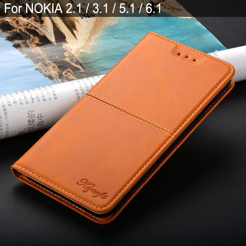 Case for NOKIA 2.1 3.1 5.1 6.1 7.1 8.1 coque luxury Vintage Leather Flip cover stand for NOKIA 2.1 3.1 5.1 6.1 7.1 case funda