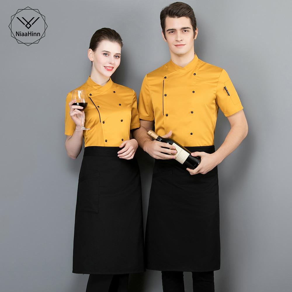 Wholesale Unisex Kitchen Chef Restaurant Uniform Short Sleeved Shirt Men Chef Breathable Hotel Kitchen Work Clothes Chef Jacket