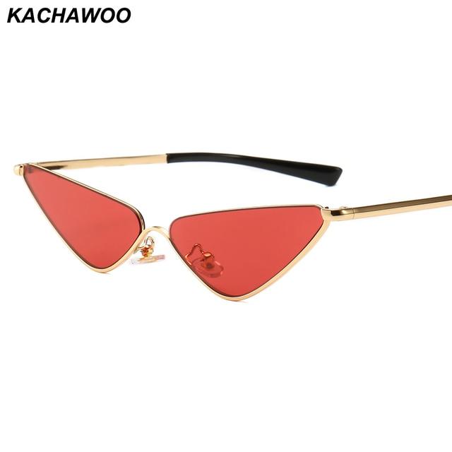 dba0205750848 Kachawoo Metal Cat Eye Sunglasses Female Semi-rimless Red Narrow Small Sun  Glasses For Women Retro Style UV400