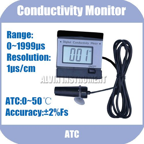 Free Shipping Conductivity Monitor Tester METER Analyzer Range:0-1999uS Resolution:1us ATC