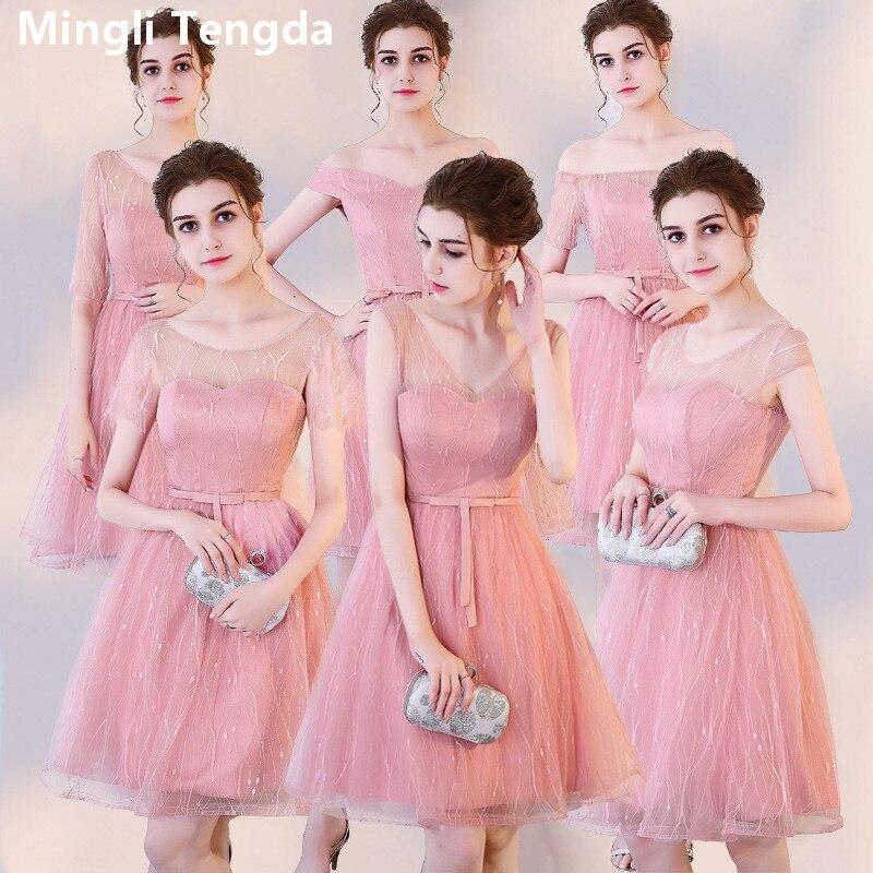 New Bean Sand 1/2 Sleeves   Bridesmaid     Dresses   Elegant Party Prom   Dress   robe demoiselle d'honneur Vestido De Noiva Mingli Tengda