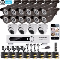 Eyedea 16CH Email Alert DVR 1080P White 12 Bullet 4 Dome Outdoor LED Night Vision CCTV