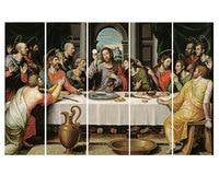 Hand painted famous figures Oil Paintings The Last Supper by Leonardo da Vinci 5 Pcs Wall Art Canvas Decor Picture Set