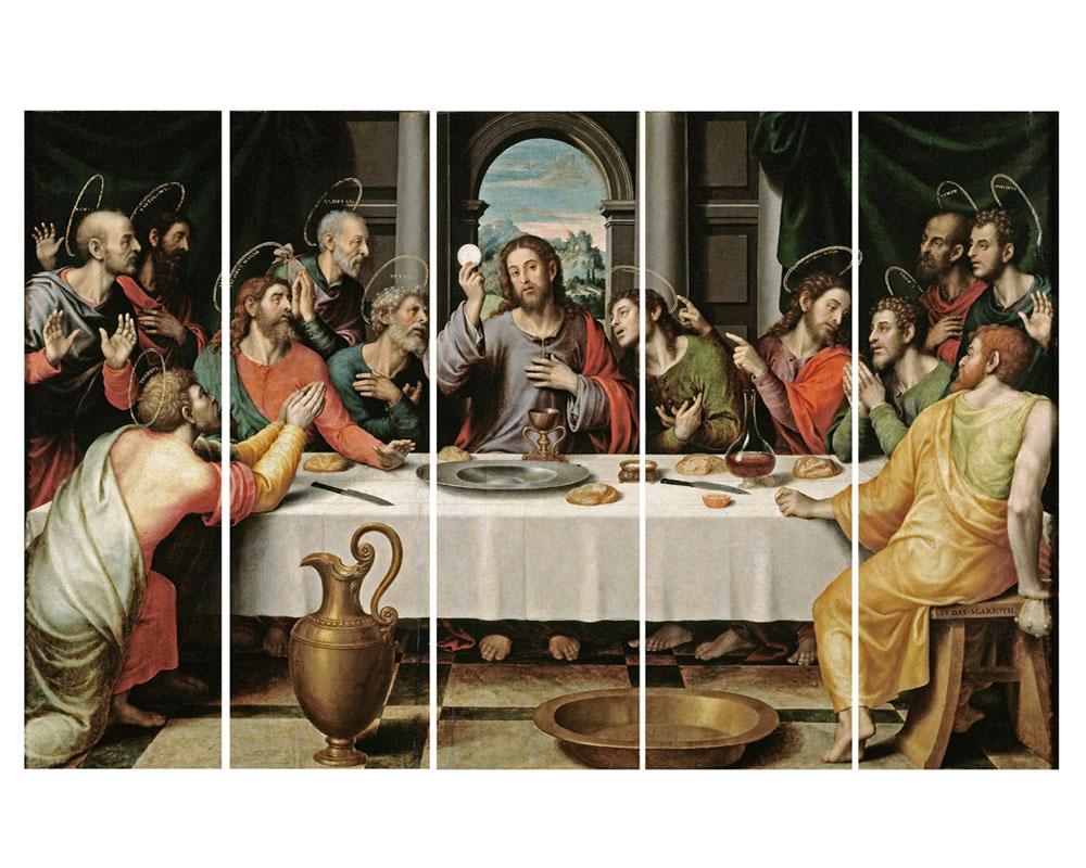 Peint à la main célèbre chiffres Peintures À L'huile Le Dernier Souper by Leonardo da Vinci 5 Pcs Mur Art Toile Décor Image ensemble