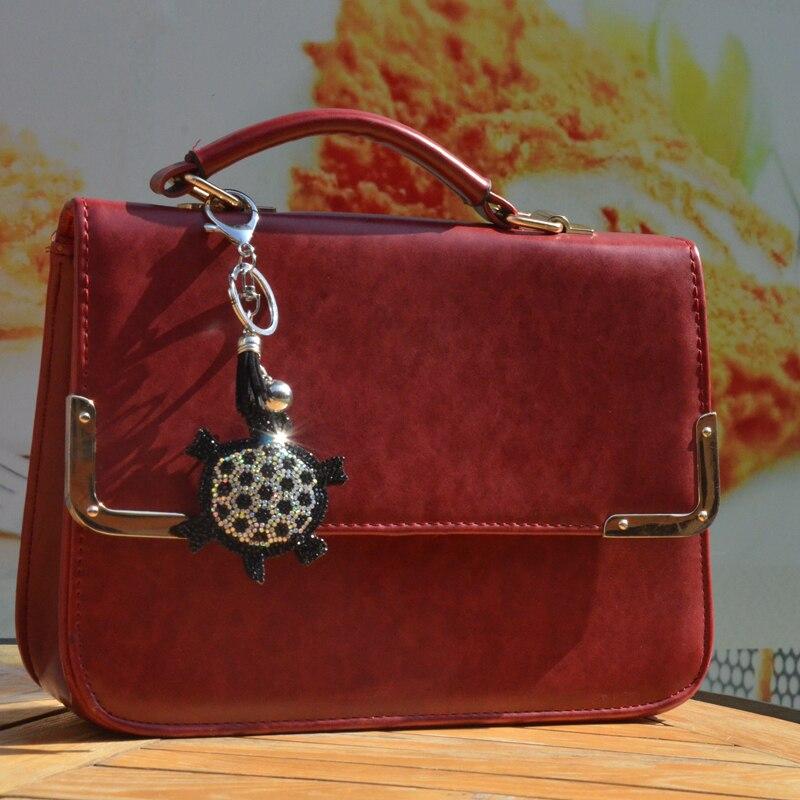 BONAMIE Turtle Bag Decoration Bag Hanger Ornament Sequins Jewelry Leather Pendant Gift Couple Key Crystal Car Hanger