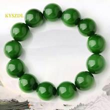 KYSZDL Natural green stone bead bracelet 16mm-20mm domineering men