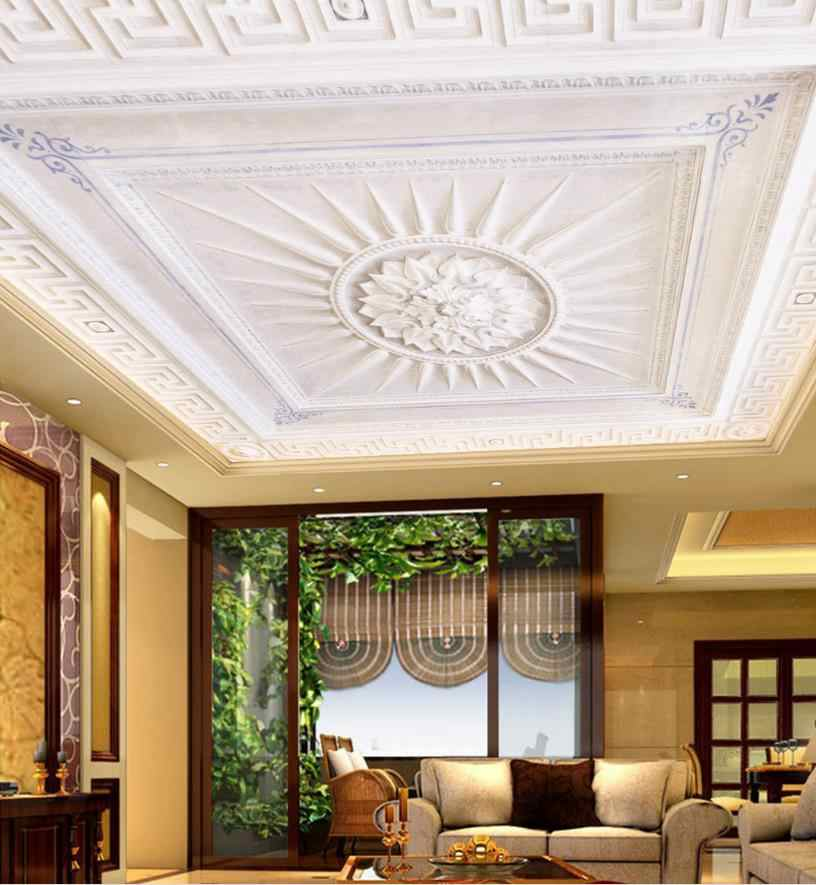 Пользовательские 3D потолок трехмерная Европейская белая текстура потолок Водонепроницаемая настенная бумага