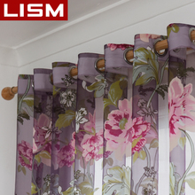 Floral Tulle Window Curtains For Living Room Bedroom Kitchen Sheer Voile Modern Finished Tulle Curtains For Window Drapes LISM цена и фото