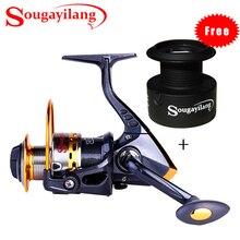 Sougayilang 13+1 Ball Bearing Fishing Reel 5.5:1 Gear Ratio Spinning Fishing Reel Fishing Wheel with Free Spare Spool