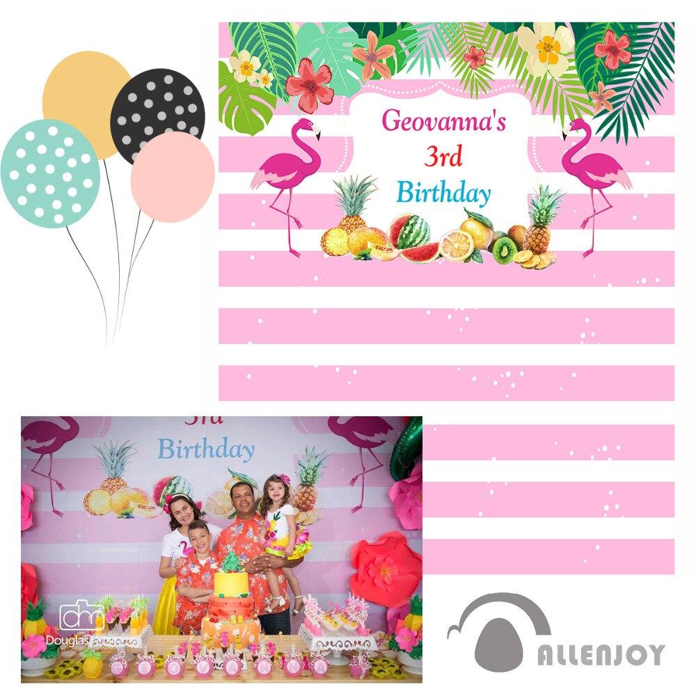 Allenjoy photography vinyl backdrops White Pink Green Birthday Flamingo Custom photo backdrop sweet celebration excluding stand allenjoy children birthday celebration