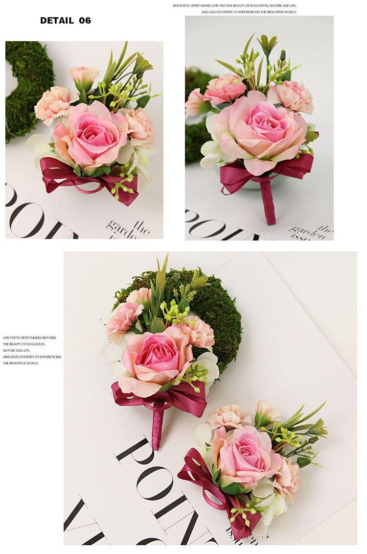 bridesmaid bracelet wedding corsage flowers roses artificial  (15)