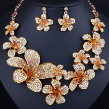 FARLENA Wedding Jewelry 2017 Trend Color Crystal Flower Necklace Earrings set for Bridal Fashion Rhinestones Jewelry set