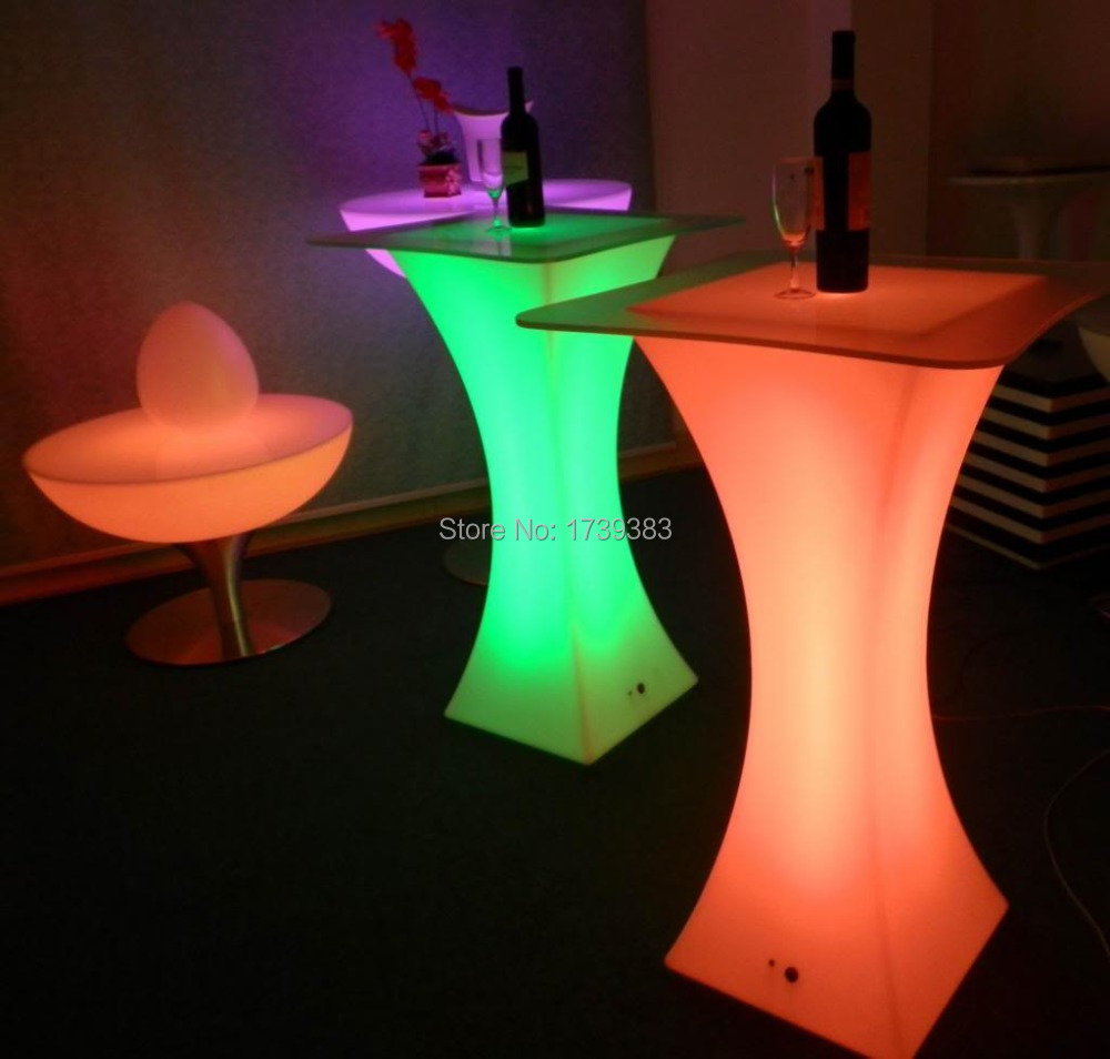 Buy d45 h110 colorful led square cocktail for Cocktail tables led