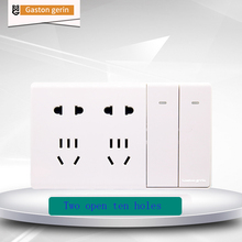Wall Power Socket Switch 2 Gang 1Way Universal Dual 5 Hole Switched Outlet Surface Mounted Socket Panel 148mm*86mm 110V-250V 10A fluorescence 2 power socket wall mount plate w one gang switch white 250v 10a
