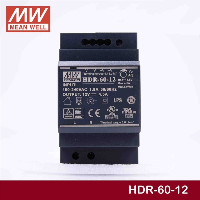 Steady MEAN WELL HDR 60 12 12V 4.5A meanwell HDR 60 54W Single Output Industrial DIN Rail Power Supply [Hot6]