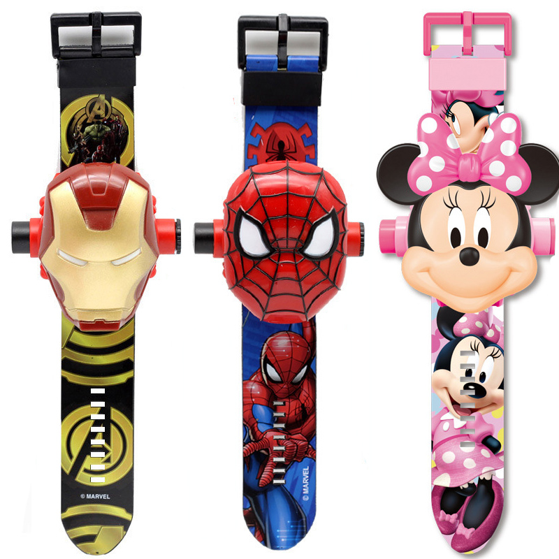 New 3D Projection Spiderman Ironman Child Watches Kids Cartoon Pattern Mickey Girls Watch Digital Wristwatches Relogio Masculino