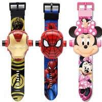 Nouveau 3D Projection Spiderman Ironman enfant montres enfants dessin animé motif Mickey filles montre montres numériques Relogio Masculino