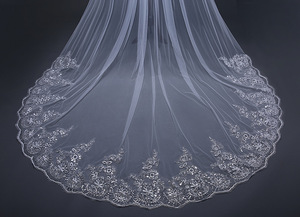 Image 5 - 4 Meter *3m Ivory/White Bridal Veils Lace one layer applique Edge Tulle  Cathedral Wedding Veil Long Wedding Accessorie