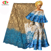 2018 High-end fashion French Lace Fabric High Quality African Tulle Embroidered flower transparent net Lace Fabric For Wedding