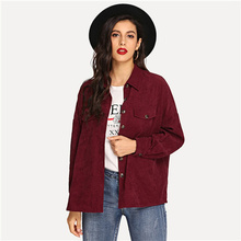 8ffa36340d SHEIN Burgundy Drop Shoulder Button Up Corduroy Collar Jacket Autumn Single  Breasted Casual Elegant Women Coat