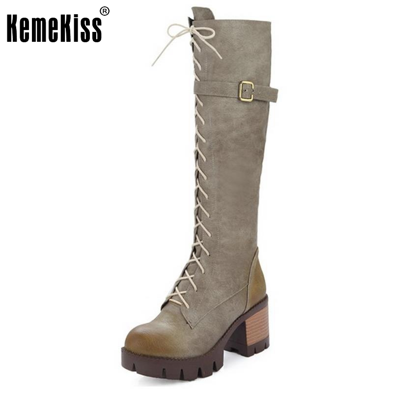 Women Platform Round Toe Knee Boots Woman Vintage Cross Strap Square Heel Shoes Ladies New Fashion Knight Botas Size 34-43 очки со встроиным монитором и наушниками купить