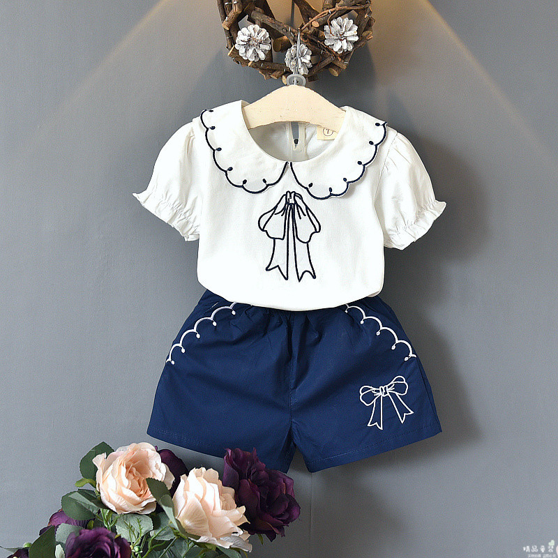 Kids fashion girls clothes summer style tops shorts 2 pcs kids cute Embroidered Doll Collar shirt + pocket shorts kids pineapple print tee with rolled hem shorts