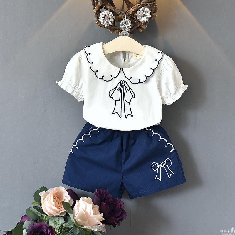 Kids fashion girls clothes summer style tops shorts 2 pcs kids cute Embroidered Doll Collar shirt + pocket shorts