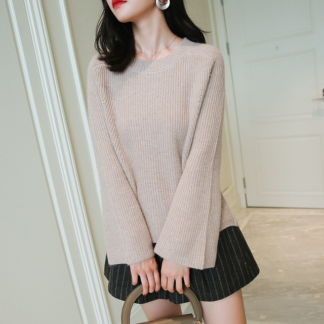 Winter 100% Pure Cashmere Sweater Female Casual Knitted Loose Long Sleeve Pullover  Sweaters Autumn 2018 Korean Women Jumper Top edd2df433