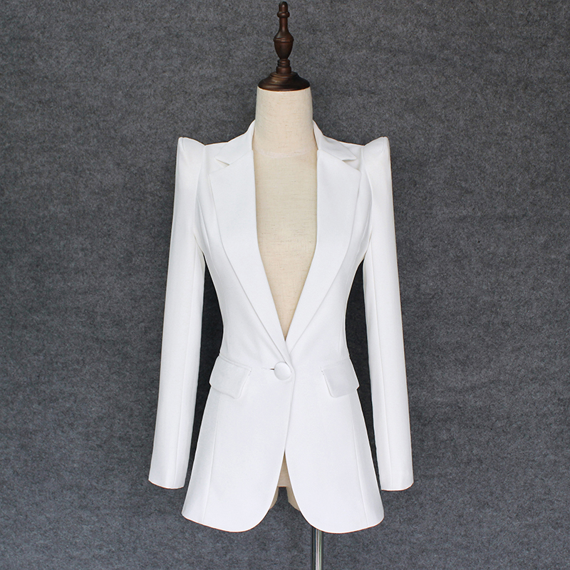 EXCELLENT QUALITY 2018 Stylish Classic Designer Blazer For Women Single Button Shrug Shoulders Slim Fitting Blazer Outer Jacket