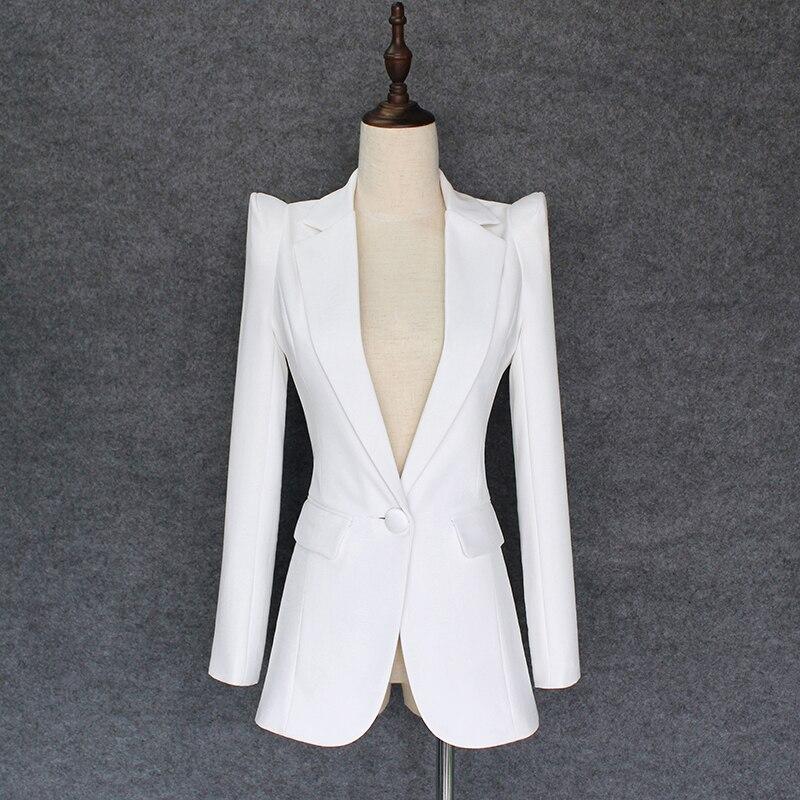 EXCELLENT QUALITY 2020 Stylish Classic Designer Blazer For Women Single Button Shrug Shoulders Slim Fitting Blazer Outer Jacket