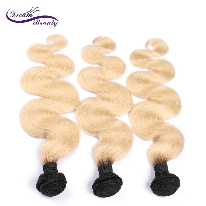 ドリーム美容ブラジル実体波1b 613オンブルブロンド色3ピースエクステンションレミー人間の髪バンドル送料無料  グループ上の ヘアエクステンション & ウィッグ からの 3/4 バンドル の中 3
