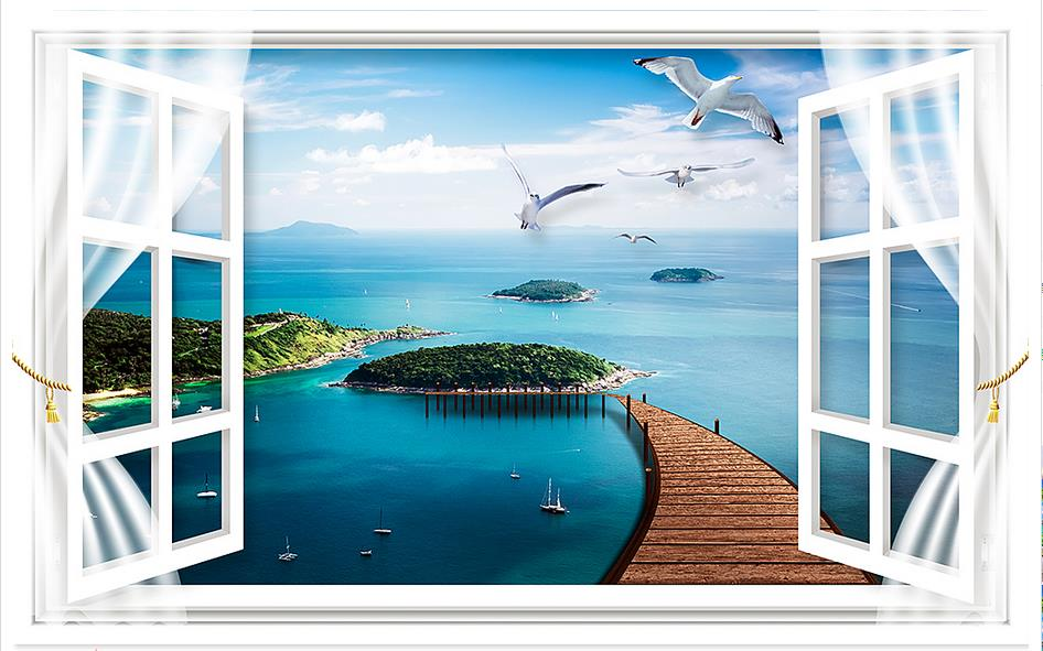3d wallpaper 3d murals wallpaper for walls 3 d window scenic island sea gull the sitting room TV setting wall is the beach wall