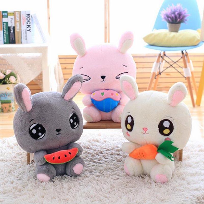New Lovely Big Face Rabbit Short Plush Toy Soft Doll Children Toys Christmas Gift