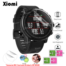4 unids/lote (2 películas + 2 toallitas) para reloj inteligente Xiaomi Huami Amazfit Stratos ritmo 2/2 s deporte Smartwatch suave TPU claro película protectora- @