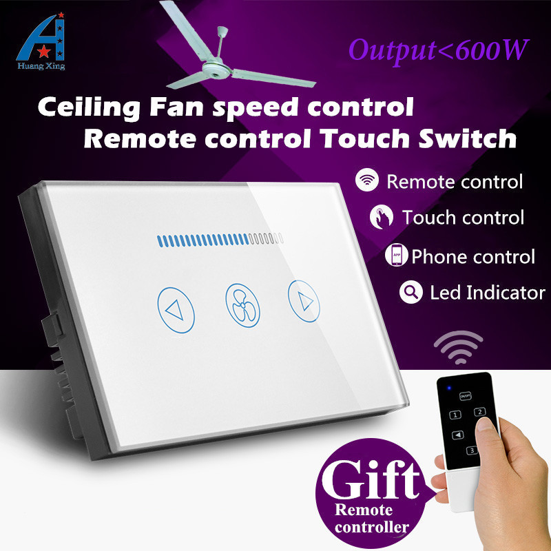 AU/US Standard Crystal Glass Panel, touch switch and wireless remote control for ceiling fan, 600W Speed Regulation wall switch 2017 smart home crystal glass panel wall switch wireless remote light switch us 1 gang wall light touch switch with controller