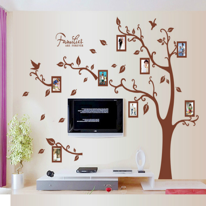 Large Size Brown Family Photo Frames Tree Wall Stickers, DIY Home  Decoration Wall Decals Modern