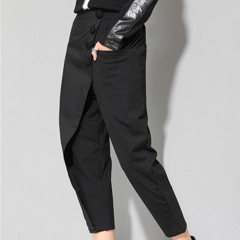 HTB1nxMpKqmWBuNjy1Xaq6xCbXXaX - [EAM] 2019 New Spring Black Loose High Waist Flat Elastic Waist Women Fashion Tide Wide Leg Ankle-length Pants OA870