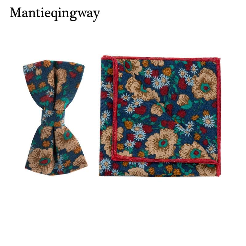 Mantieqingway Cotton Handkerchiefs Bow Tie Set Fashion Printed Bowtie Pocket Square Hanky For Business Wedding Bow Tie Hankies