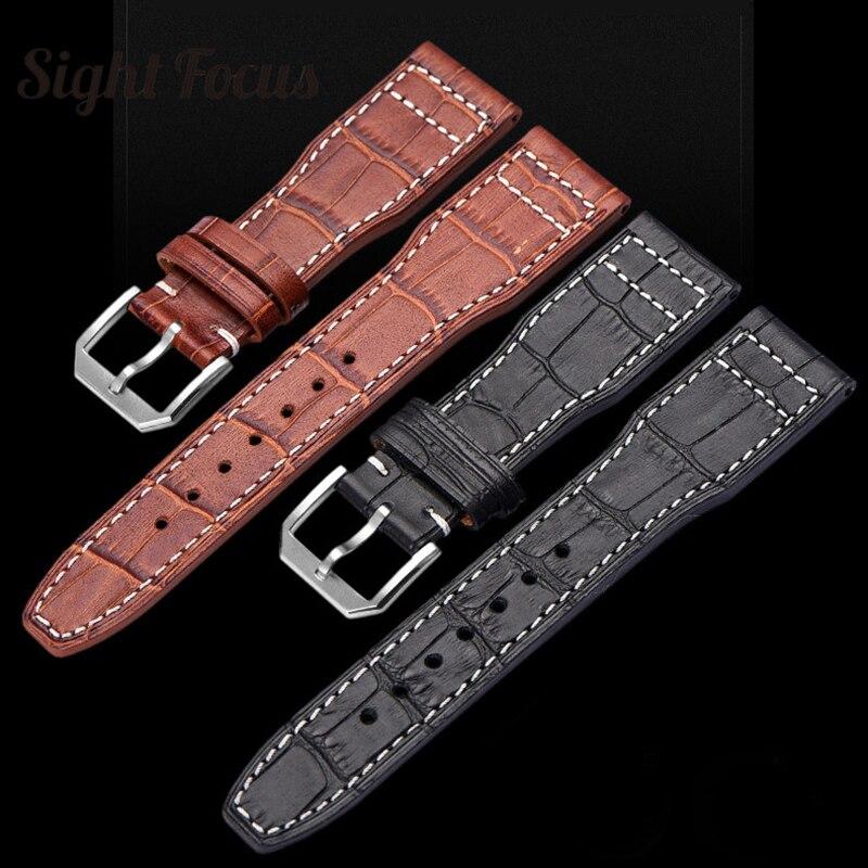 Bracelet en cuir Nubuck pour IWC grand Bracelet de montre pilote marron noir 22mm Bracelet en cuir de vachette de cheval fou marque Bracelet hommes ceinture