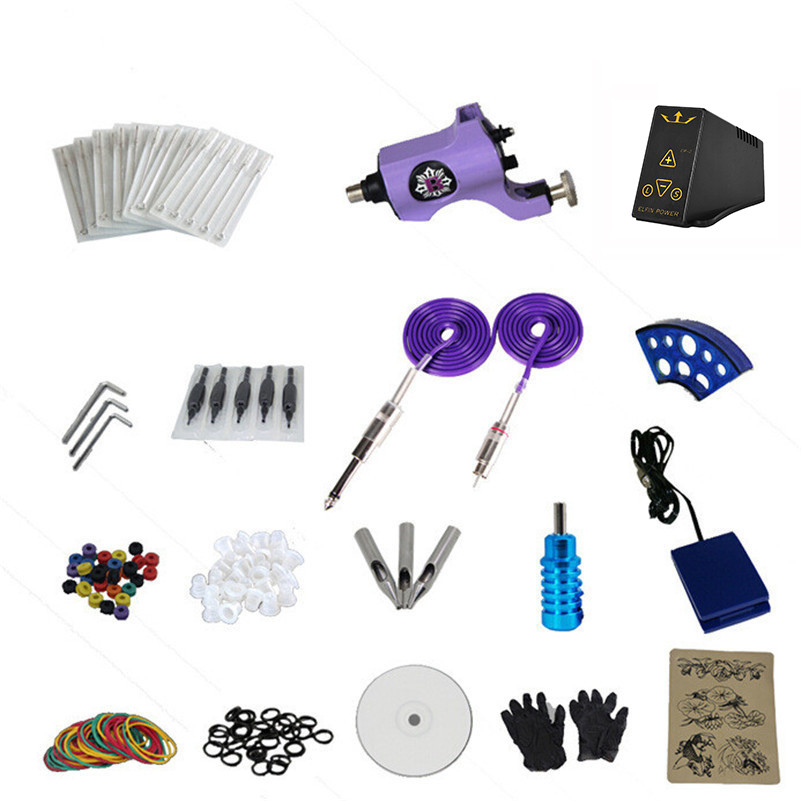 Tattoo Machine Kit With EP-2 Power Supply Professional Complete 1 Pro Rotary Tattoo Gun Kit Grips Tip 14 Colors Pigment Inks complete tattoo kit 1 professional rotary tattoo machine gun 4 inks needles power supply