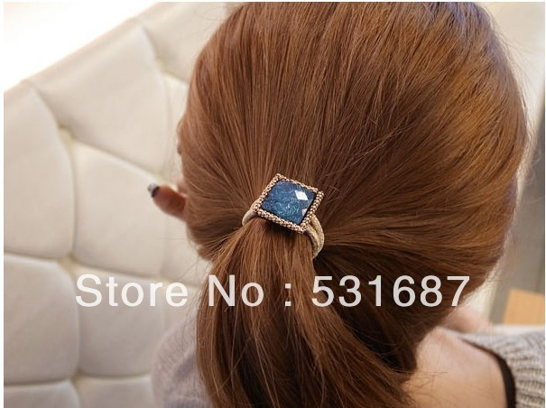 Gold square shape acrylic flower hair band rubber band hair rope for woman
