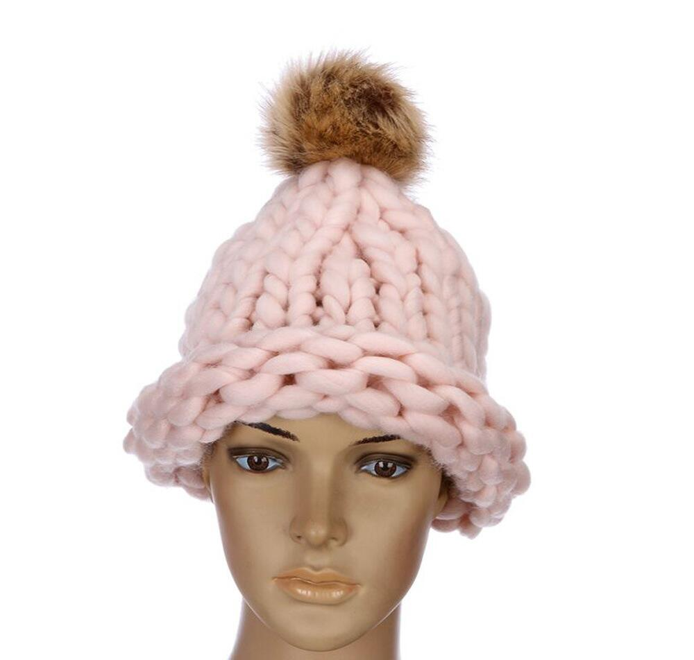 new Casual Beanies Women Thick lines Winter Hats Crochet Knitting Wool Cap Fur Pompons Ball Warm Gorros Outdoor Thick Female Cap 2017 new fashion autumn and winter wool leaves hollow out knitting hat thick female cap hats for girls women s hats female cap