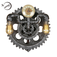Vintage iron retro gear wall lamp E27 LED 220V water pipe creative sconce lights for bedroom living room hallway hotel cafe bar
