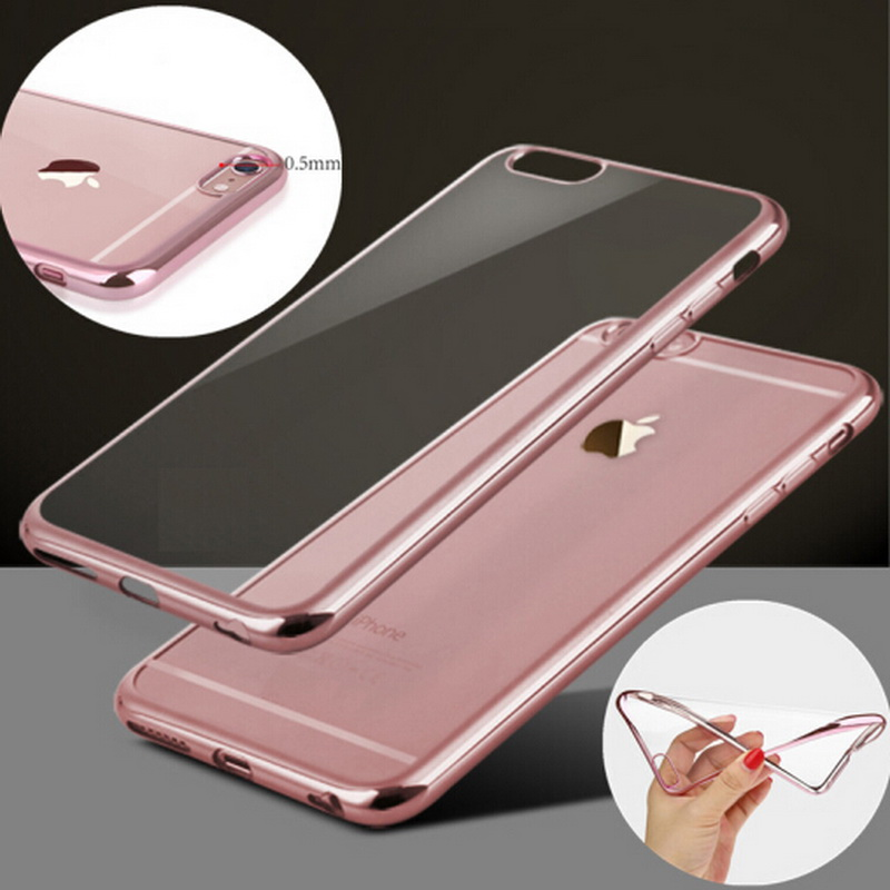 75d4ba38ab Rose Gold Plating Crystal Clear Case For Iphone 7 7PLUS SE 5S 6 6s tpu soft  Phone Cover For Samsung Galaxy S8 Case S8 Plus Cover-in Half-wrapped Case  from ...