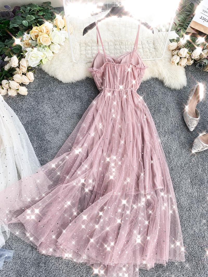 Sequins V-Neck Gauze Ruffles Mesh A-Line Dress 6