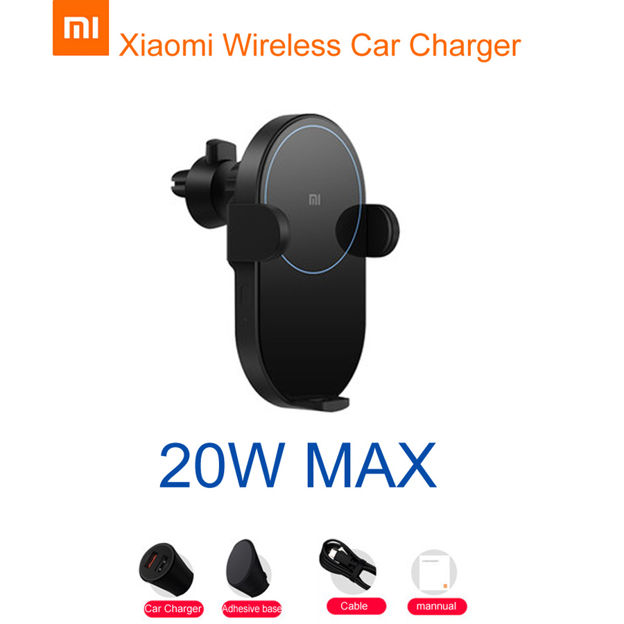 Chargeur de voiture sans fil d'origine Xiao mi 20 W Max pince automatique électrique 2.5D anneau de verre de charge mi Smartphone support pour téléphone portable